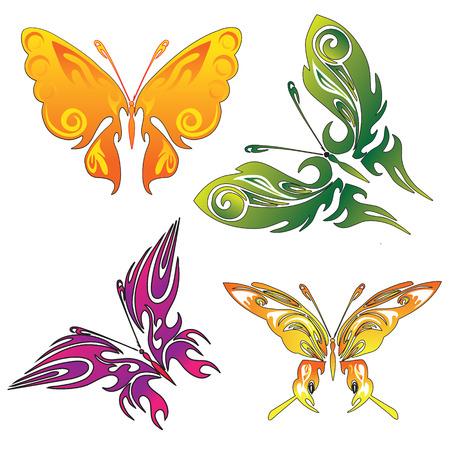 �white: una serie de cuatro mariposas tatuaje de color con diferentes gradientes Vectores