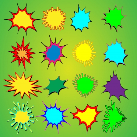 sixteen cartoon explosions ready for text to be added  Vector