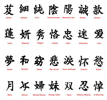 Collection Of 28 Chinese Symbols On A White Background Royalty Free