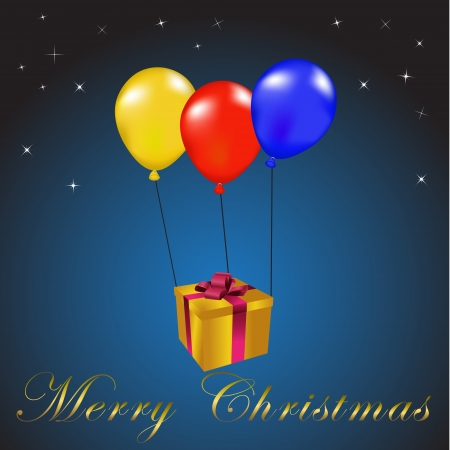 Balloons carrying a christmas gift over a starry background Vector