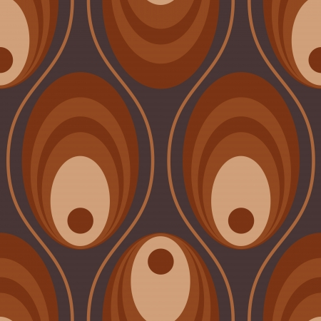 70s: a circular ringed seamless pattern in shades of brown