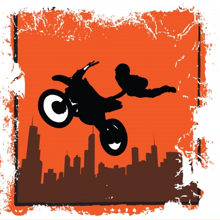 A grunge illustration of a stunt biker leaping over buildings