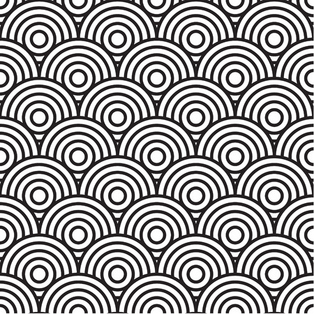 concentric: Concentric circle seamless pattern in black and white Illustration