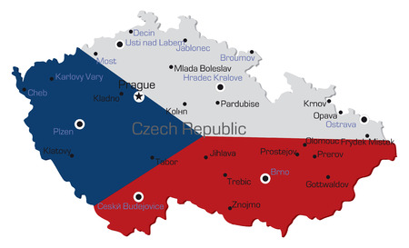 czech flag: Map of the czech republic with major towns named