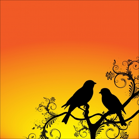 Illustration of two birds sitting on a branch with room for your text Vector