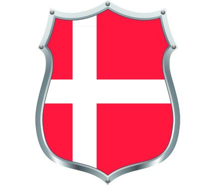 danish: Danish flag in a shield Illustration