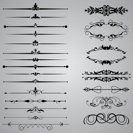 filigree background: Set of twenty two Dividers for your designs