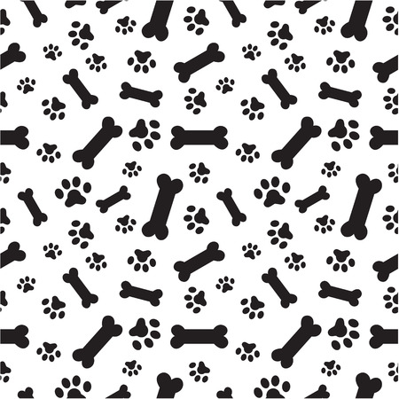 A random pattern of dogs paws and bones Çizim