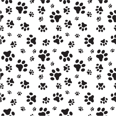 sized: A random sized seamless pattern of dogs paws silhouettes