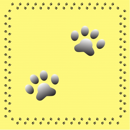 pair of dog paw silhouettes with a dogs paw border on a yellow background Vector