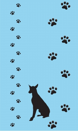 A set of dogs paws with a silhouette of a doberman Pincer on a light blue background Vector