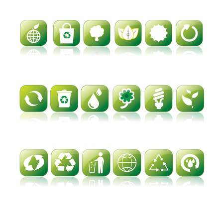 set of 18 recycle and eco icons with reflections  Vector