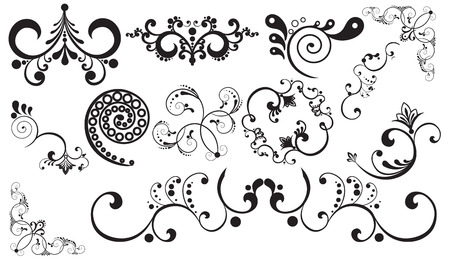 a set of floral designs on a white background Vector