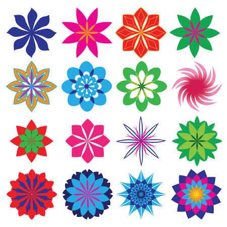 naturism: a set of sixteen different geometric flowers for design