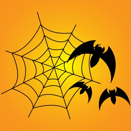 spiders web: spiders web with three bats around it