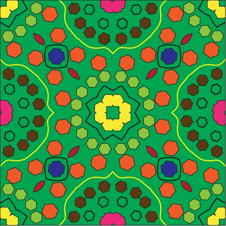 multi coloured: a multi coloured hexagonal seamless pattern with a green background