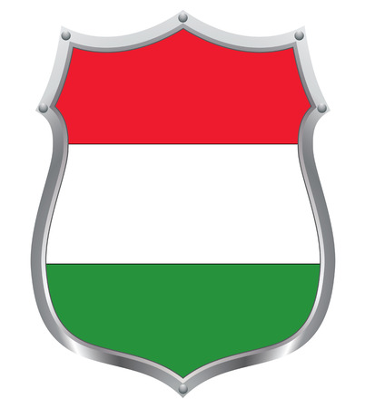 allegiance: The Hungarian flag on a shield Illustration