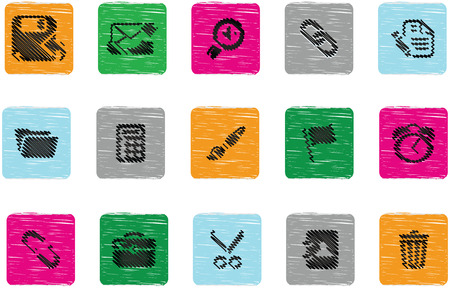 set of fifteen interface icons using scribble in three different colours Stock Vector - 24952511
