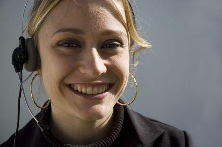 Smiling telemarketer photo