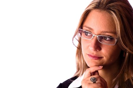 business woman wear glasses and looking away Stock Photo - 2679794