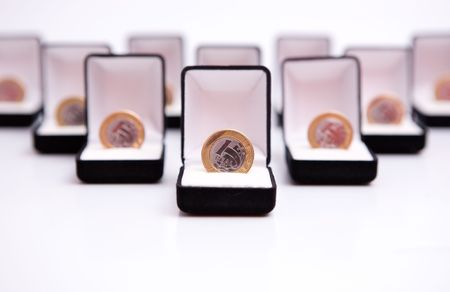 boxes of jewels with brazil real coin photo