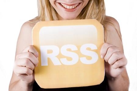 beautiful blond woman holding a rss logo Stock Photo - 4303829
