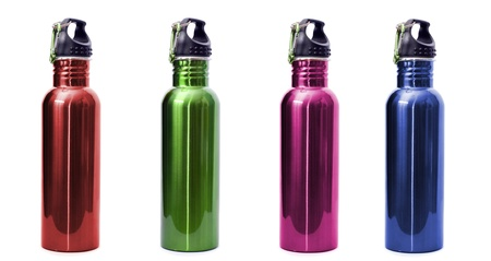 aluminum: A set of four safe, reusable stainless steel water bottles isolated on white background in red, green, pink, and blue.