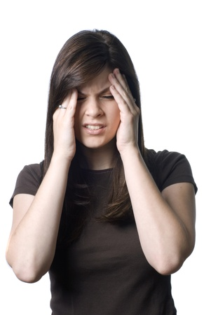A young woman with a painful headache or migrane.
