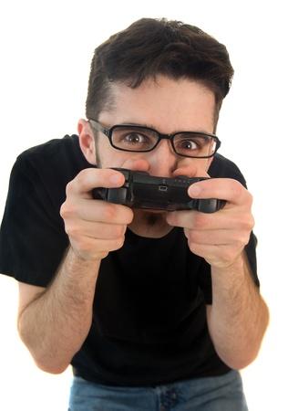 Goofy video gamer isolated on white