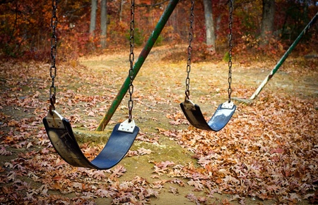 swing set: An old swingset in a park during the autumn season.