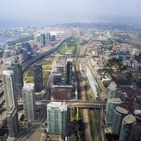 A skyline aerial view of Toronto, Ontario, Canada.