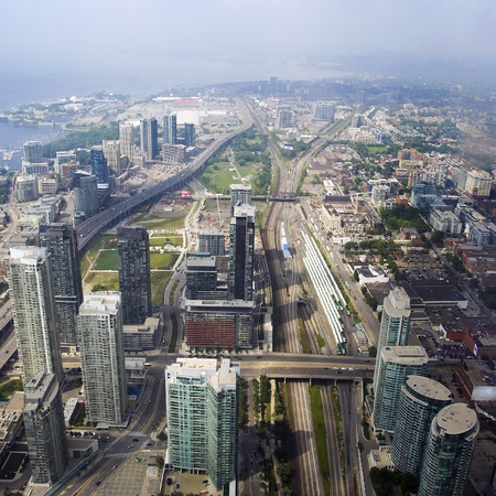 ontario: A skyline aerial view of Toronto, Ontario, Canada.