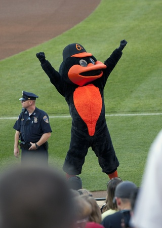 BALTIMORE - April 30: The Orioles team mascot, the Oriole Bird, rallies fans before the game at Camden Yards on April 30, 2010 in Baltimore, Maryland.