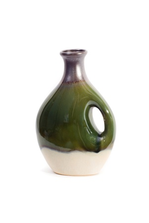 A green, brown, and white decorative vase isolated on white. Stock Photo