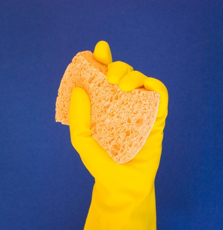 custodian: A hand in a yellow cleaning glove holding up an orange sponge over a blue background  Stock Photo