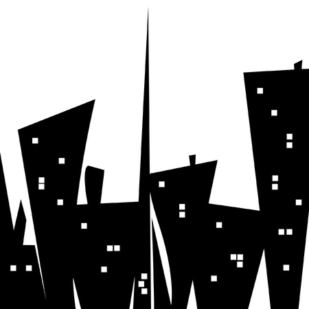 A silly stylized city scape illustration with funky looking buildings. illustration