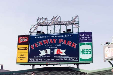 Boston - May 30: One of three new high definition video scoreboards added for 2011 season at Fenway Park. Memorial day May 30, 2011 in Boston, Massachusetts.
