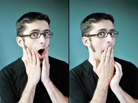 Two images of a young man with glasses looking shocked and surprised.