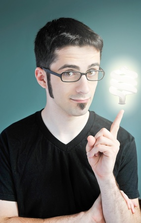A young man with a bright idea. photo