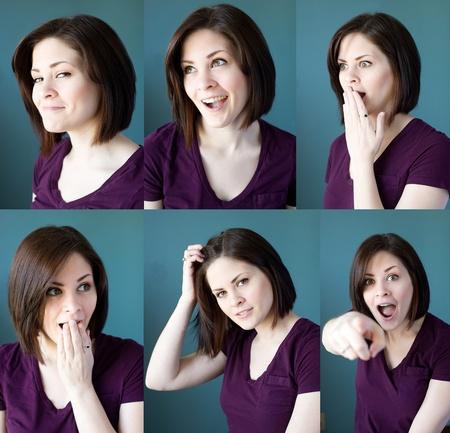 Meerdere weergaven van een jonge brunette vrouw met verschillende gezichtsuitdrukkingen.