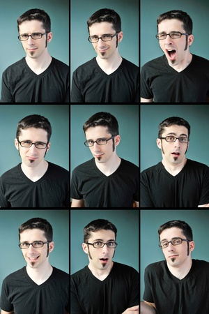 Nine facial expressions of a young man with glasses on a blue background. Stock Photo