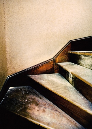 gross: A dirty old staircase in grungy style.