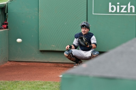 Boston - August 8: New York Yankees catcher, #17, Francisco Cervelli warms up before the game on August 8, 2011 at Fenway Park in Boston, Massachusetts.  Editorial