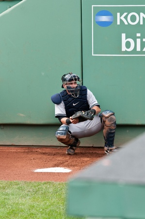 Boston - August 8: New York Yankees catcher, #17, Francisco Cervelli warms up before the game on August 8, 2011 at Fenway Park in Boston, Massachusetts.