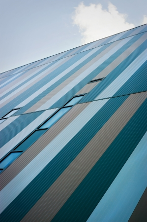 The exterior facade of a modern industrial building photo