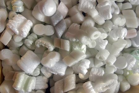 styrofoam: Pieces of styrofoam packing peanuts  Stock Photo