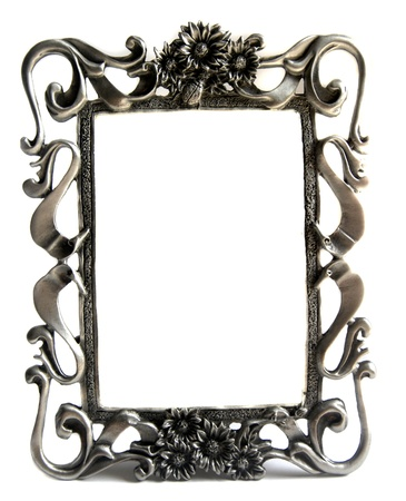 silver frame: A fancy silver photo frame on isolated white background  Stock Photo