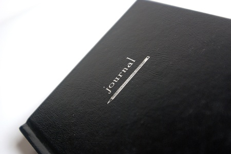 A black book journal on isolated white