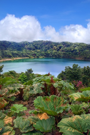 Gorgeous deep blue lake in Costa Rica  Stock Photo