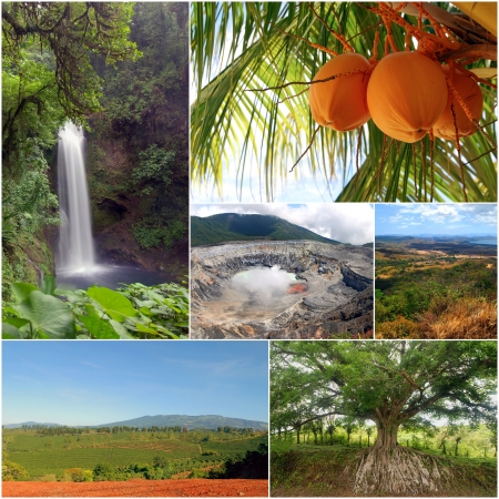 A collage of diverse nature images from different areas of Costa Rica